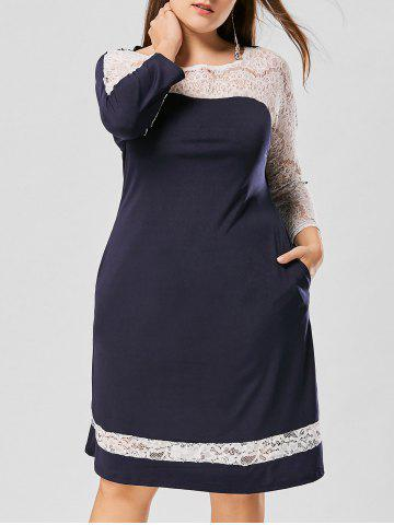 Lace Panel Raglan Sleeve Plus Size Dress - Purplish Blue - 3xl