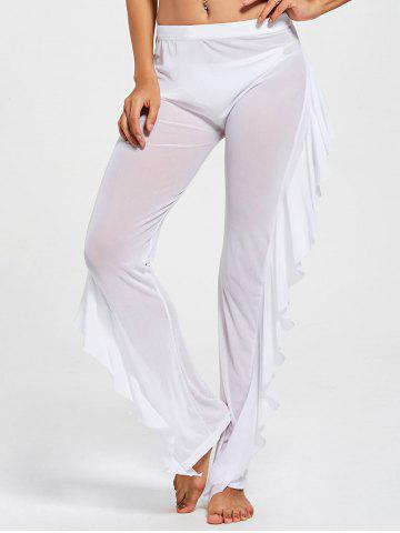 Ruffled See Through Mesh Cover Up Pants - White - S