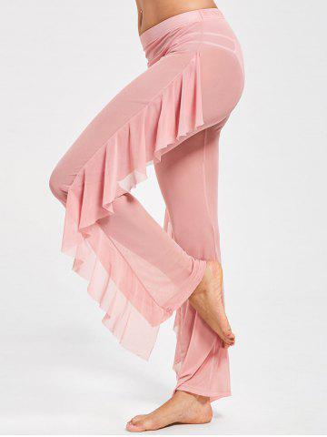 Trendy Ruffled See Through Mesh Cover Up Pants - L PINK Mobile