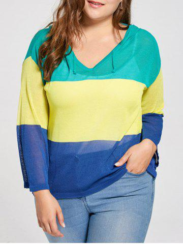 Plus Size Transparent  Color Block Hooded Sweater - Blue - One Size