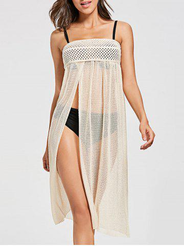 Outfit Crochet Slit Swimsuit Cover Up BEIGE ONE SIZE