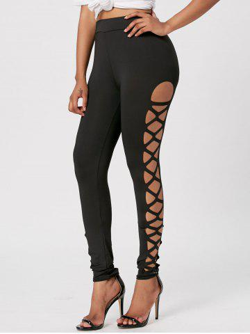 Cut Out Skinny Lace Up Leggings - Black - M