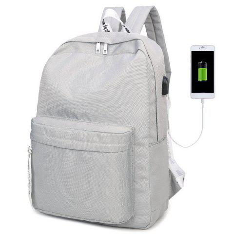 USB Interface Nylon Zippers Backpack