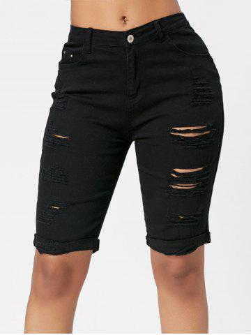 Trendy Ripped Bermuda Cuffed Shorts BLACK XL