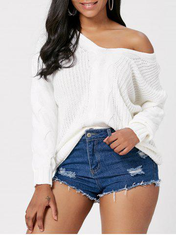 Hot Cable Knit Skew Neck Sweater OFF-WHITE ONE SIZE