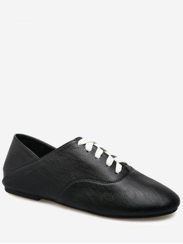 Fashion Faux Leather Slight Heel Sneakers - 39 BLACK Mobile