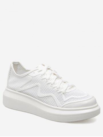 Latest Breathable Faux Leather Insert Athletic Shoes WHITE 38