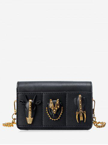 Best Rivets Chain Faux Leather Crossbody Bag BLACK