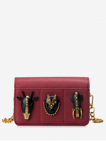 Rivets Chain Faux Leather Crossbody Bag - Wine Red