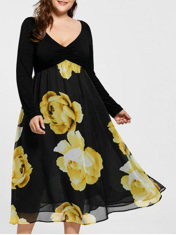 Empire Waist Floral Plus Size Midi Dress - Black - 5xl