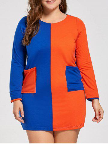 Color Block Pockets Plus Size Tunic T-shirt Dress - Blue And Orange - 4xl