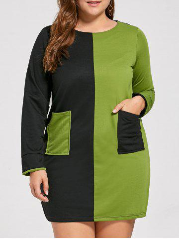 Color Block Pockets Plus Size Tunic T-shirt Dress - Black And Green - 2xl