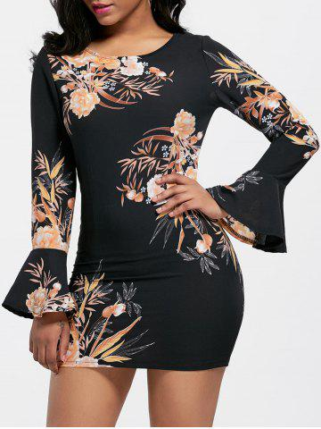 Trendy Chiffon Flare  Sleeve Printed Dress