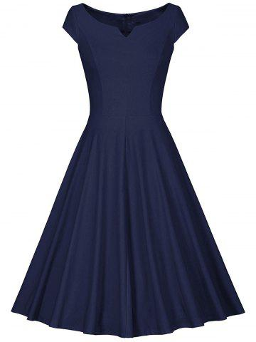 Affordable Retro V Neck Fit and Flare Dress