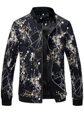 Discount Zip Up Splatter Print Bomber Jacket