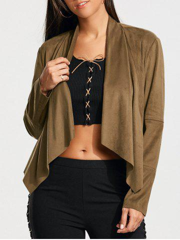 Plain Faux Suede Waterfall Jacket with Pocket - Coffee - M
