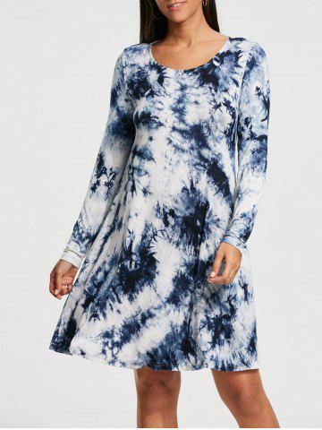 Tie Dyed Print Long Sleeve Shift Dress - Colormix - 2xl