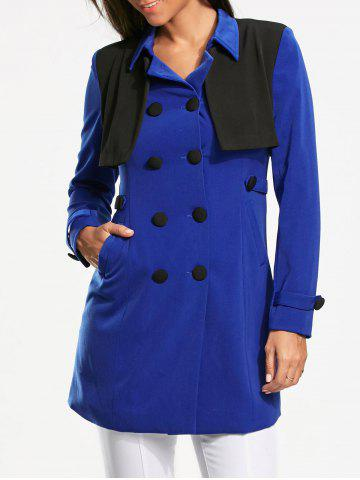 Bolero Panel Double Breasted Pea Coat - Blue - Xl