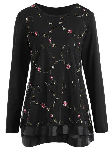 Plus Size Mesh Floral Embroidered Overlay Top - Black - 5xl