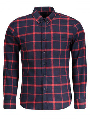 Button Down Checked Flannel Mens Shirt - Blue And Red - Xl