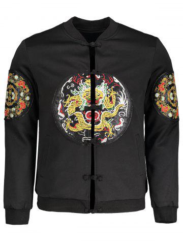 Chic Embroidered Applique Mens Bomber Jacket