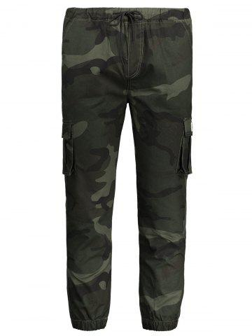 Fancy Drawstring Camouflage Mens Jogger Pants - 4XL ARMY GREEN Mobile