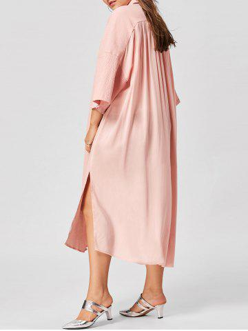 Plus Size Side Slit Shirt Dress - Nude Pink - 5xl