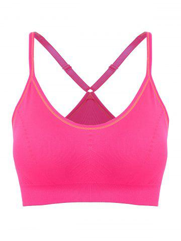 Trendy Adjustable Padded Sports Longline Racerback Bra ROSE MADDER L