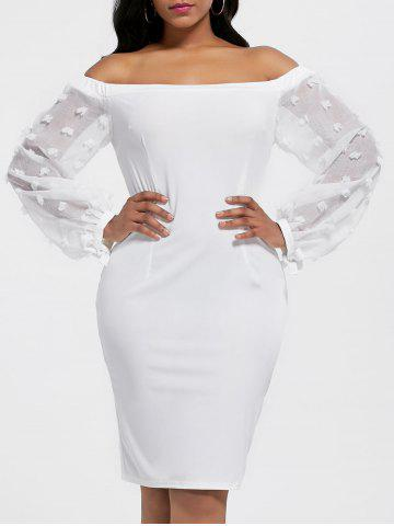 Cheap Sheer Sleeve Off The Shoulder Bodycon Dress WHITE M