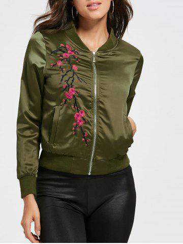 Cheap Floral Embroidered Bomber Jacket - M GREEN Mobile