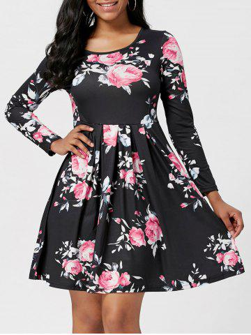Hot Floral Print A Line Mini Dress - XL BLACK Mobile
