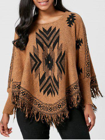 Hot Batwing Graphic Sweater with Fringes BROWN ONE SIZE