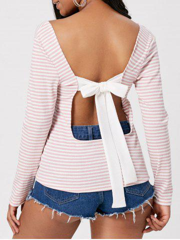 Open Back Striped Self Tie T-shirt