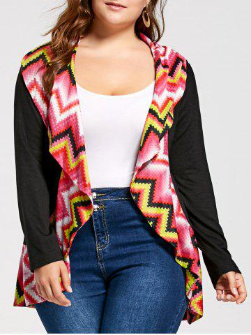 Cheap Long Sleeve Colorful Zig Zag Plus Size Cardigan COLORMIX 2XL