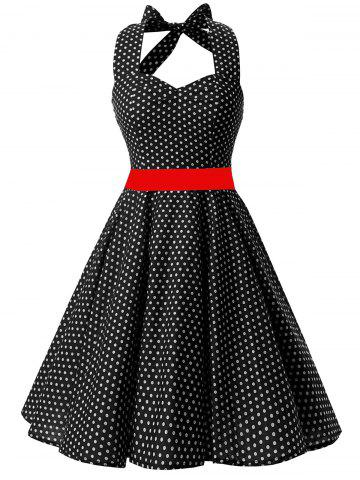Vintage Backless Halter Polka Dot Skater Dress Noir M