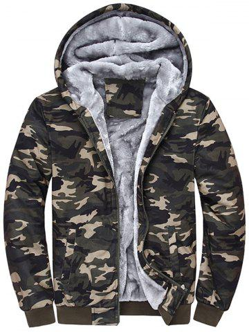 Cheap Zip Up Flocking Hooded Camouflage Jacket