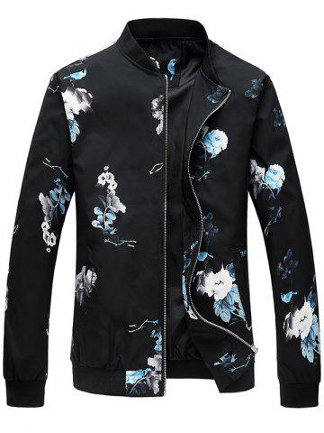 Fancy Flower Pattern Zip Up Bomber Jacket