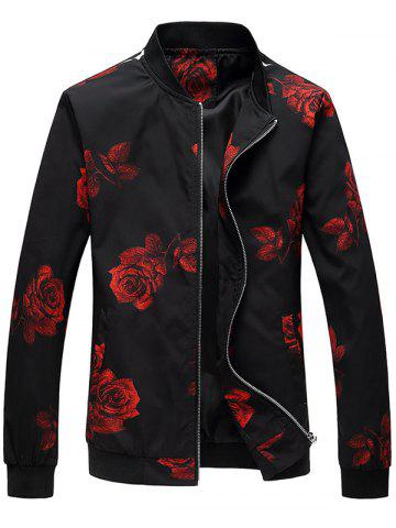 Trendy Zip Up Rose Print Bomber Jacket