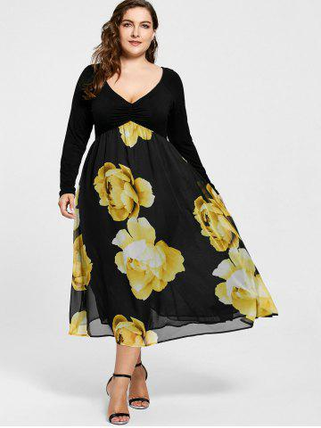 7d5127040be Empire Waist Floral Plus Size Midi Dress