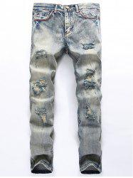 Straight Leg Blends Wash Ripped Jeans