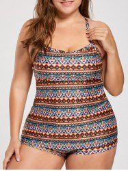 Padded Bohemian Printed Plus Size Tankini Set