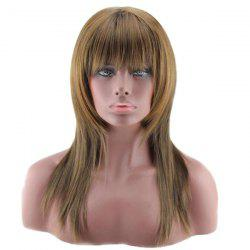 Long Colormix Neat Bang Layered Straight Synthetic Wig