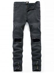 Zippers Design Hollow Straight Leg Ripped Jeans -