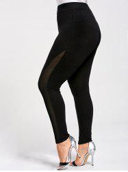 Mesh Panel Plus Size Skinny Leggings - BLACK