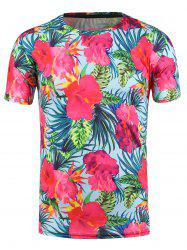 3D Flowers Print Hawaiian T-shirt - LIGHT BLUE 3XL