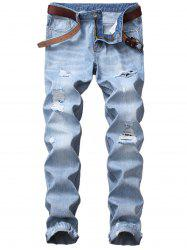 Blends Wash Straight Leg Distressed Jeans