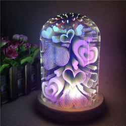 3D Colorful Glass Shade Hearts Decoration Night Light - Coloré