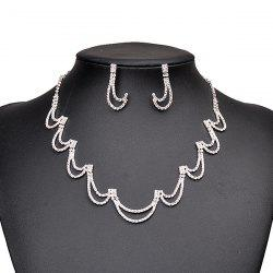 Rhinestone Hollow Moon Shape Collier et boucles d'oreilles -