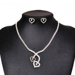 Hollow Heart Rhinestones Wedding Necklace and Earrings -