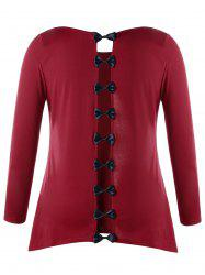 Plus Size Hollow Out Bowknot Patchwork T-shirt